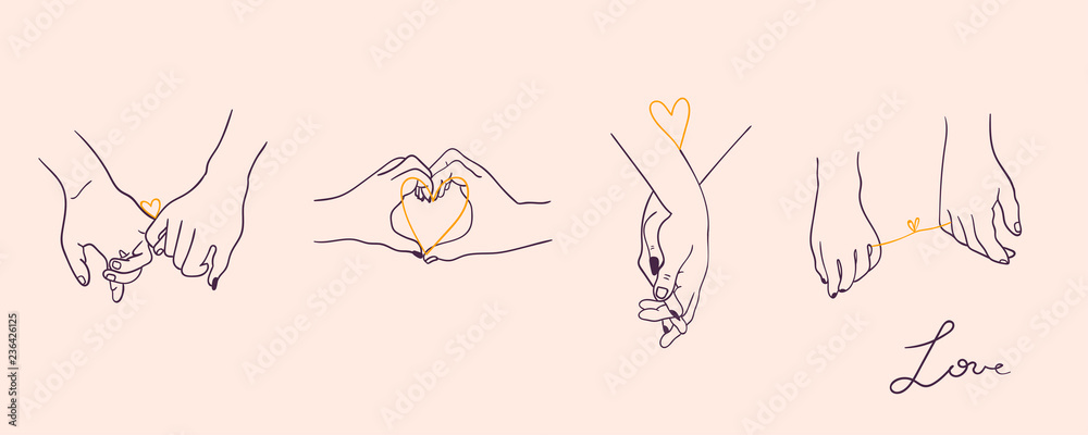 Fototapeta One line drawn holding hands. Saint Valentine's day vector set. Pink background. All elements are isolated - obraz na płótnie