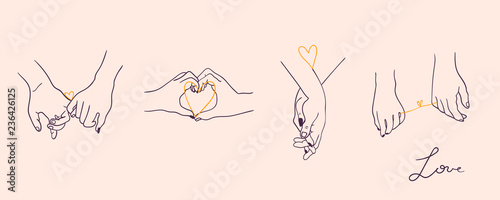Obraz One line drawn holding hands. Saint Valentine's day vector set. Pink background. All elements are isolated - fototapety do salonu