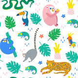 Hand drawn various jungle animals in unique trendy style. Colored vector seamless pattern - 236426546