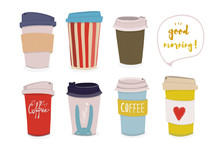 Good Morning! Hand Drawn Various Coffee Cups. Colored Vector Set. All Elements Are Isolated