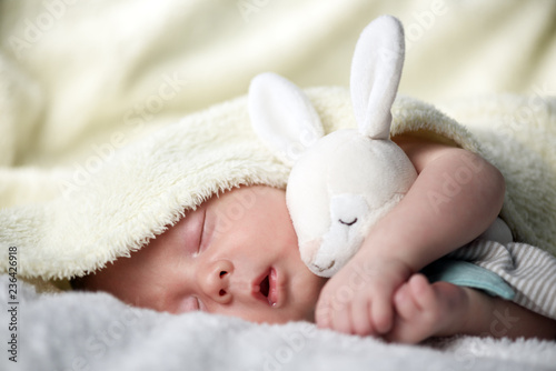 Fototapeta Newborn baby boy with rabbit toy on white carpet closeup. Motherhood and new life concept obraz