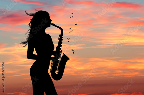 Obraz na plátně illustration of girl plays the sax