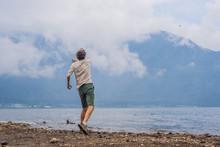 Man Tourist At The Lake Bratan...