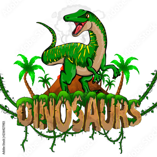 Cuadros en Lienzo Logo  Dinosaurs World with Raptor. Vector illustration.
