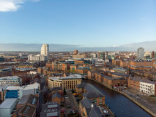 Aerial Photo Overlooking The Leeds City Center On A Beautiful Part Cloudy Day In West Yorkshire UK