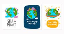 World Earth Day. Hand Drawn Cu...