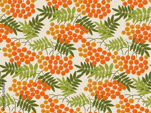 Fotografie, Obraz  Rowanberry vector seamless pattern