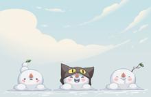 Snowman Monster Cute Character Design Vector Illustration
