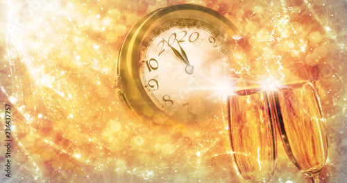 Valokuva  Greeting card for the new year 2020, sect and clock