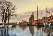 Harbour Of Hoorn With Sailboats And The Hoofdtoren, That Means The Main Tower. Hoorn Is A Harbor Town At The Markermeer Dating Back To The 12th Century, Hoorn, Netherlands