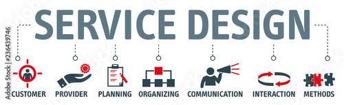 Fotografie, Obraz  Banner service design concept vector illustration