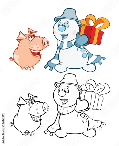 Vector Illustration of a Cute Pig and a Snowman. Coloring Book Cartoon Character Безымянный-4