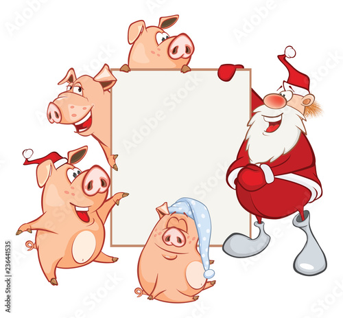 Fotobehang Babykamer Merry Christmas Card Illustration of Cute Santa Claus and Pigs Astrological Sign in the Zodiac Cartoon Character
