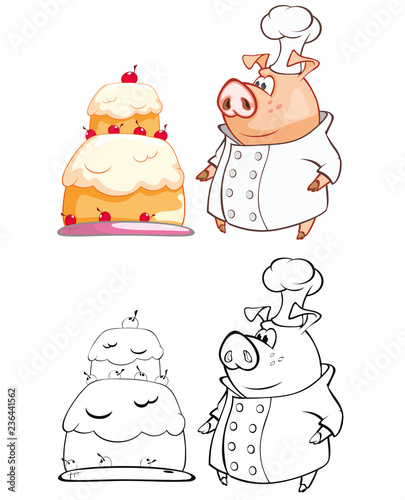 Vector Illustration of a Cute Pig Cook Cartoon Character