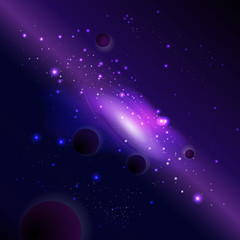 Vector illustration with space and planets. Cosmic background with galaxy.