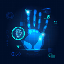 Hand Scan In Futuristic Style, Vector Of Handprint With Technological Theme