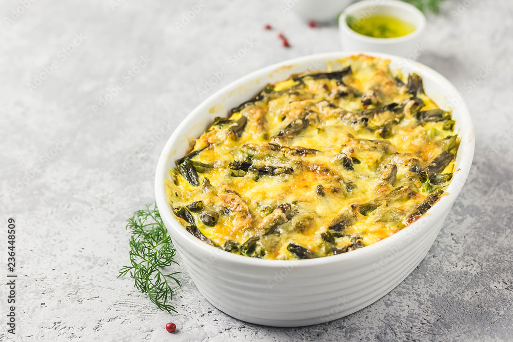 Fototapety, obrazy: Creamy green bean casserole in a baking dish. Top view, space for text.