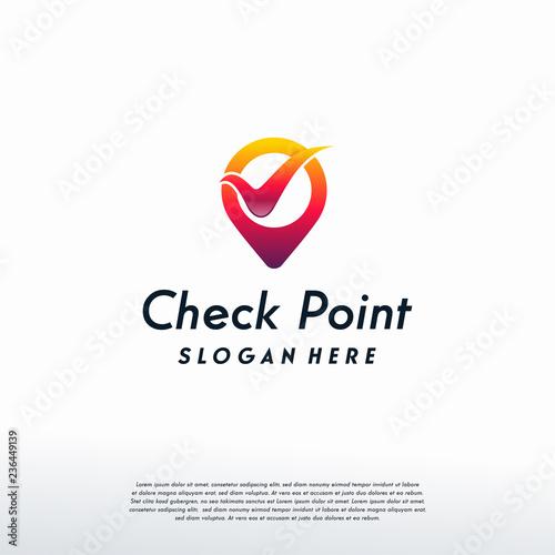 Valokuvatapetti Check point logo designs concept vector, Safe Place logo template, logo symbol i