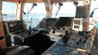 Marine navigation equipment in the wheelhouse