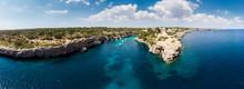Spain, Balearic Islands, Mallorca, Llucmajor, Aerial View Of Bay Of Cala Pi And Torre De Cala Pi