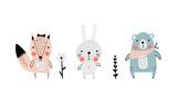 Fototapeta Fototapety na ścianę do pokoju dziecięcego - Cartoon forest animals set