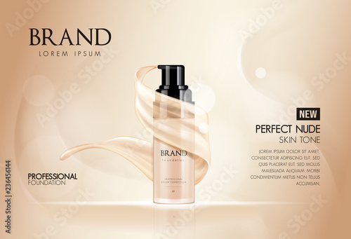 Foto Cosmetic vector foundation premium product advertisment, ads for promotion