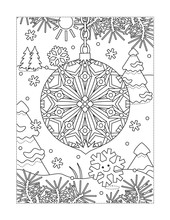Winter Holidays Joy Themed Coloring Page With Beautiful Christmas Ornament And Outdoor Scene