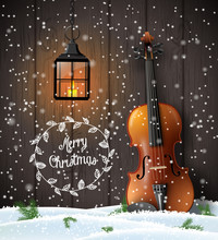 Christmas Background With Viol...