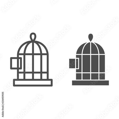 Fotografie, Obraz  Bird's cage line and glyph icon