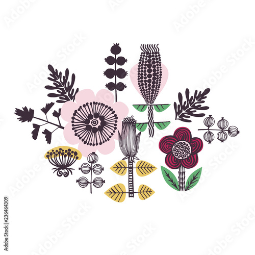 Floral card or print in Scandinavian style. Yellow, pink, red, green.  Wall mural