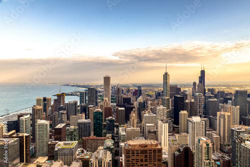 Poster Chicago Spettacular sunset over skyline of Chicago