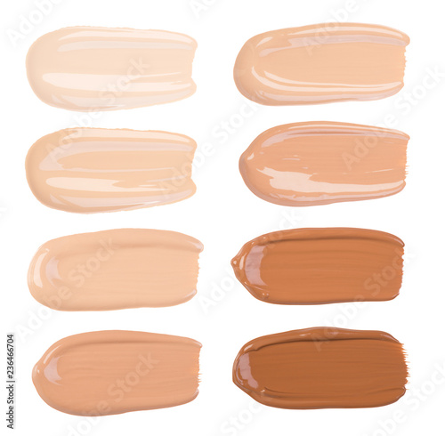 Canvastavla Makeup foundation smears isolated on white background