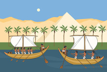 Nile River Of Ancient Egypt With Sailboats Vector Cartoon