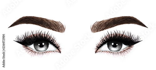 Fototapeta Woman eyes with long eyelashes. Hand drawn watercolor illustration. Eyelashes and eyebrows. Design for eyelash extensions, microblading, mascara, beauty salon, cosmetics, makeup artist. Black eyes. obraz