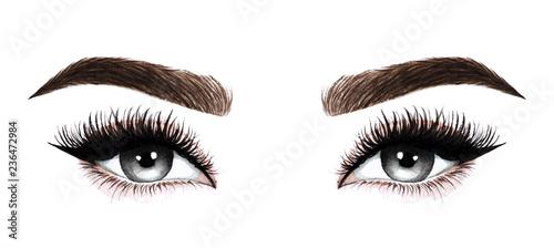 Obraz Woman eyes with long eyelashes. Hand drawn watercolor illustration. Eyelashes and eyebrows. Design for eyelash extensions, microblading, mascara, beauty salon, cosmetics, makeup artist. Black eyes. - fototapety do salonu