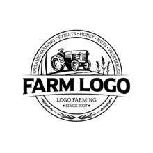 Farm Tractor And Field Illustr...