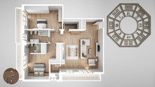 Interior Design Project With Feng Shui Consultancy, Home Apartment Flat Plan, Top View With Bagua And Tao Symbol, Yin And Yang Polarity, Monogram Concept Background