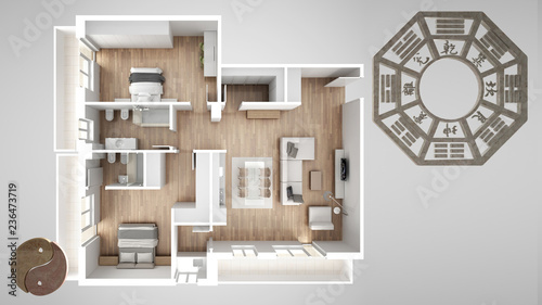 Fotografía  Interior design project with feng shui consultancy, home apartment flat plan, to