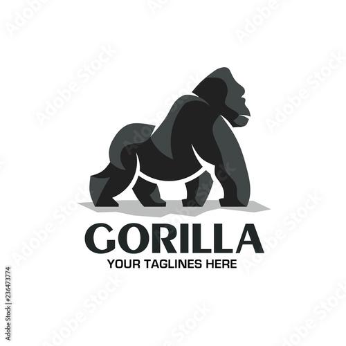 Naklejka premium kreatywny i silny wektor logo Gorilla na białym tle