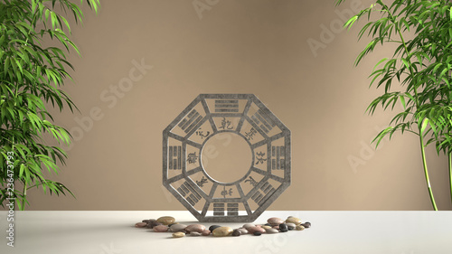 White table shelf with ba gua, pebble stone and bamboo plants, brown orange back Wallpaper Mural