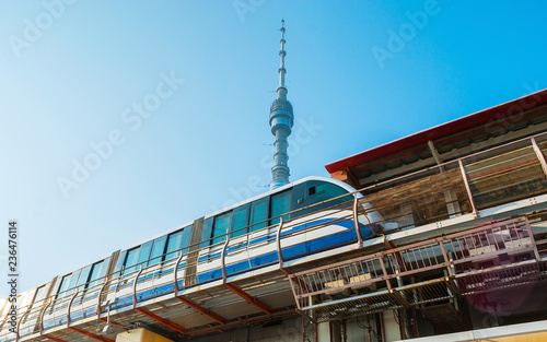 Keuken foto achterwand Aziatische Plekken The modern train of Moscow Monorail line at the Teletsentr station with a view on Ostankino Tower on the background, Russia.