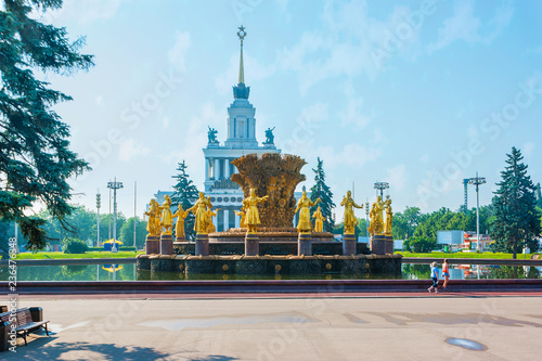 Keuken foto achterwand Aziatische Plekken Visit the site of VDNH exhibition center and enjoy preserved Soviet landmarks, such as fountain of Friendship of Nations and pavilions of Soviet republics, on June 29 in Moscow