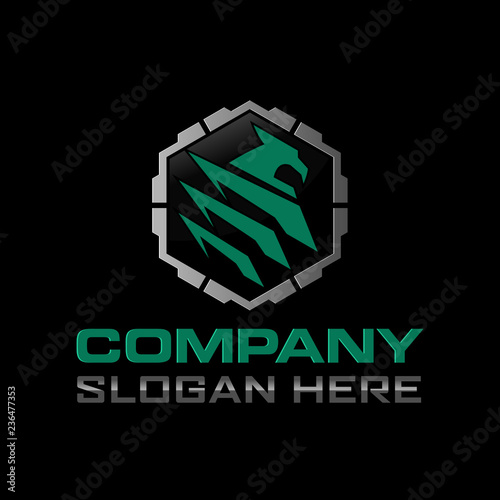 Eagle hexagon tactical logo design Template Wallpaper Mural