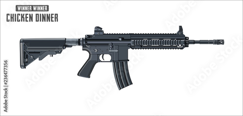 Photo  Assault rifle vector isolated on white background - Assault rifle weapon