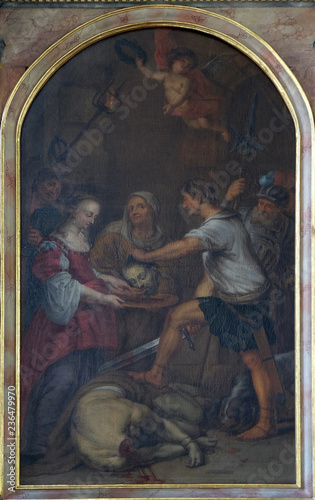 Fotografie, Tablou Beheading of John the Baptist altar in Maria im Grunen Tal pilgrimage church in