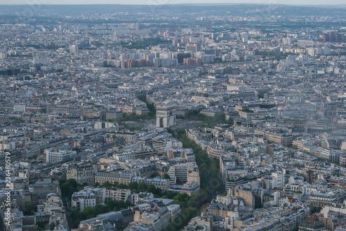 Poster de jardin Paris Paris panoramic air view from the Eiffel Tower. Travel around Paris. Sightseeing of France.