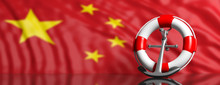 Lifebuoy And Navy Ship Anchor On Chinese Flag Background, Banner. 3d Illustration