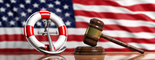 Lifebuoy, Ship Anchor And Law Gavel On US Of America Flag Background, Banner. 3d Illustration