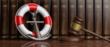 Lifebuoy, Navy Ship Anchor And Judge Gavel On Law Books Background, Banner. 3d Illustration