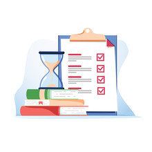 Exam Preparation School Test. Examination Concept Checklist And Hourglass, Choosing Answer Questionnaire Form, Education